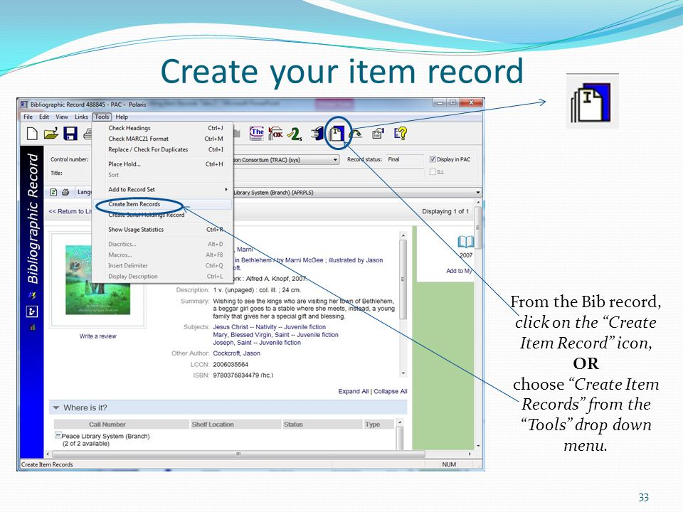 Create your item record