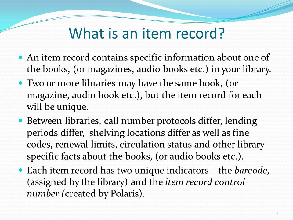 What is an item record An item record contains specific information about one of the books, (or magazines, audio books etc.) in your library.
