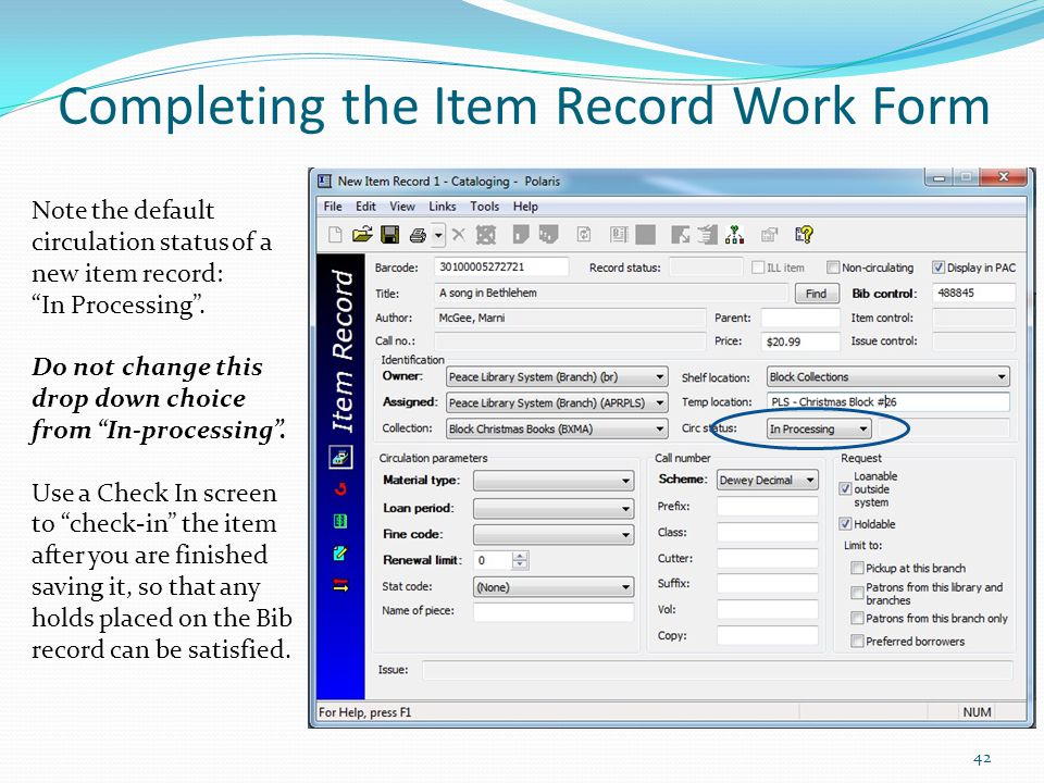 Completing the Item Record Work Form