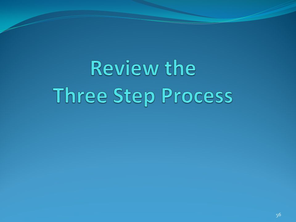 Review the Three Step Process