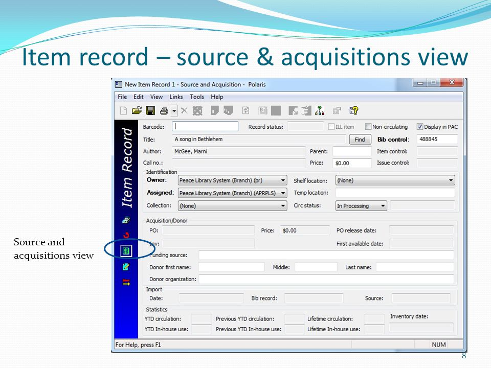 Item record – source & acquisitions view