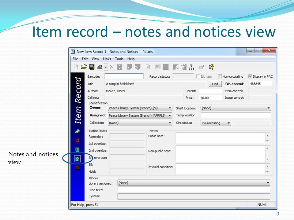 Item record – notes and notices view