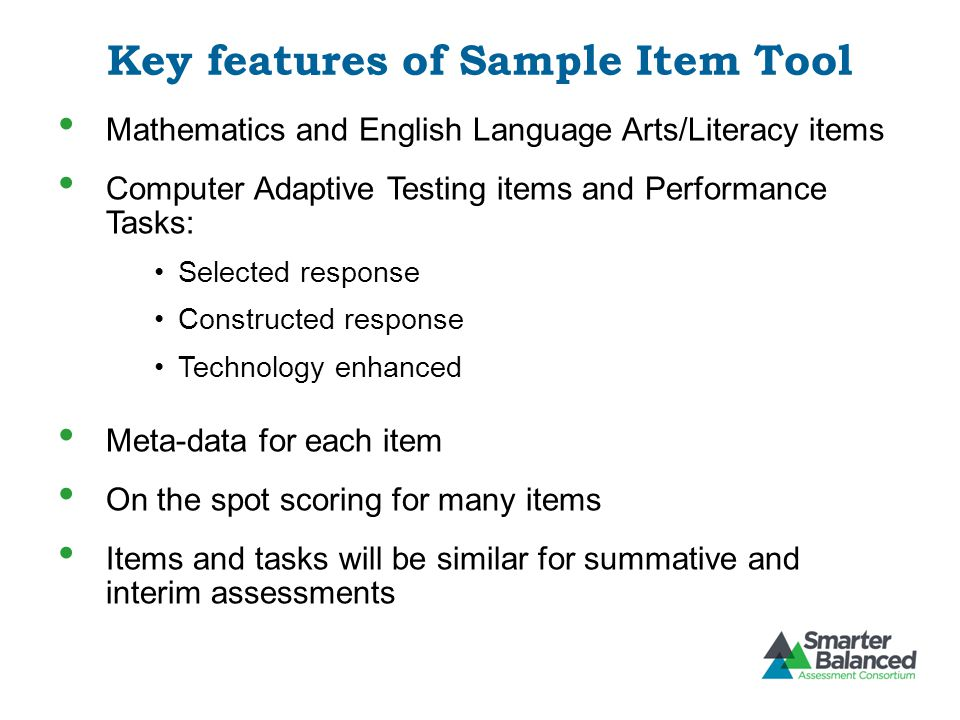 Key features of Sample Item Tool