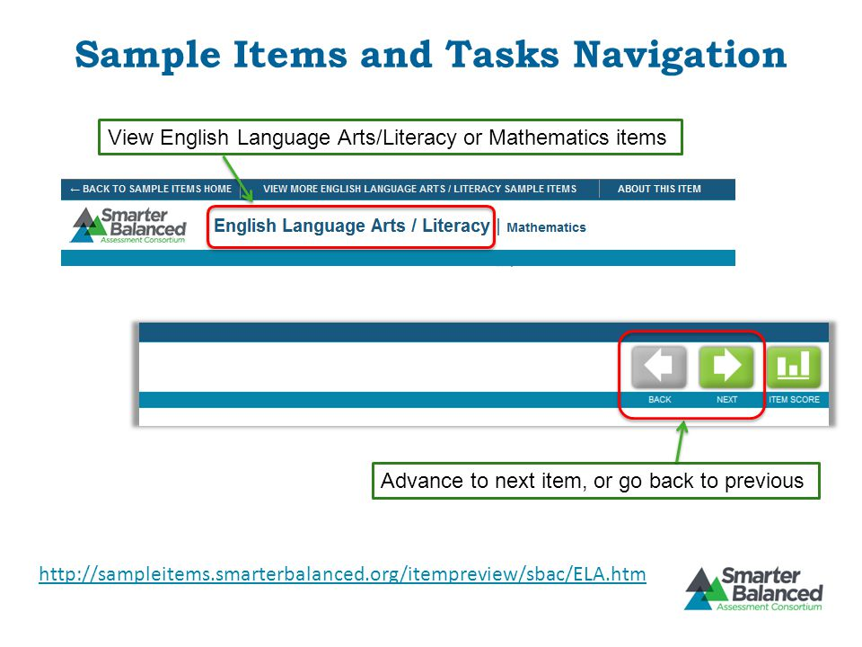 Sample Items and Tasks Navigation