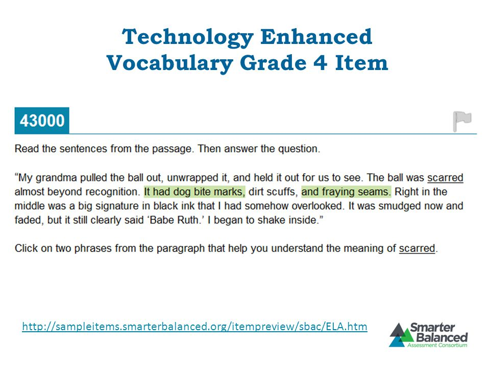 Technology Enhanced Vocabulary Grade 4 Item
