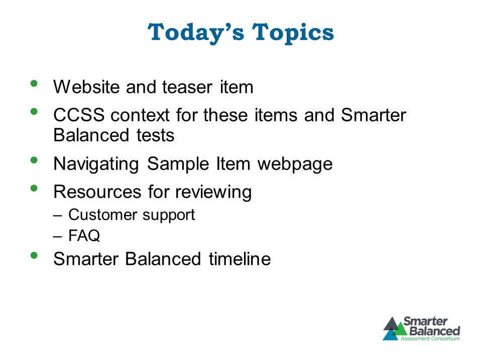 Today's Topics Website and teaser item