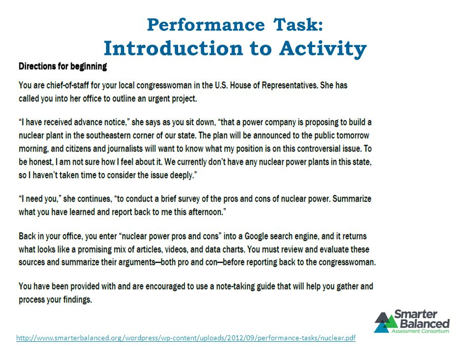 Performance Task: Introduction to Activity