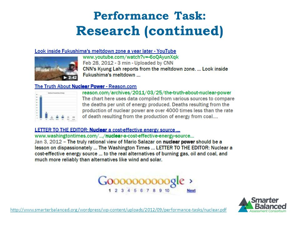 Performance Task: Research (continued)