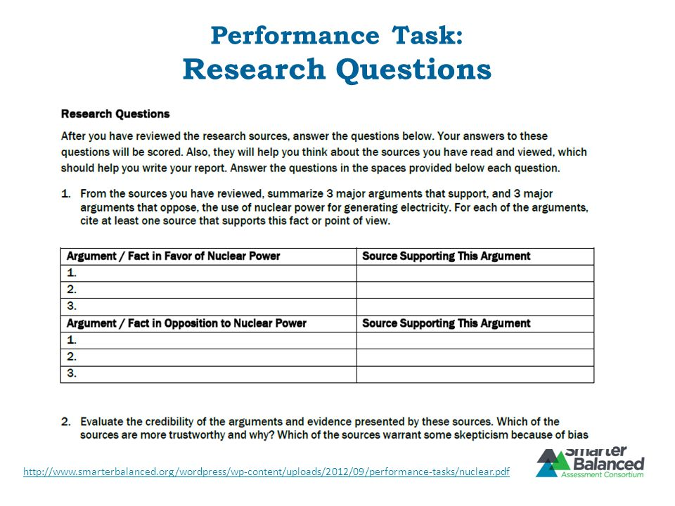Performance Task: Research Questions