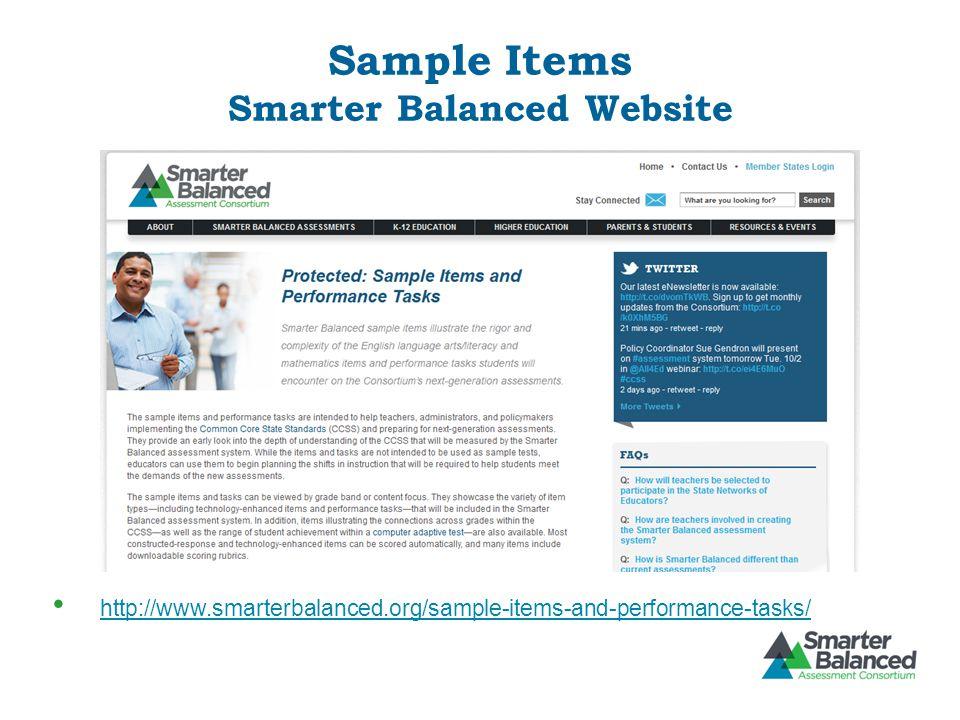 Sample Items Smarter Balanced Website
