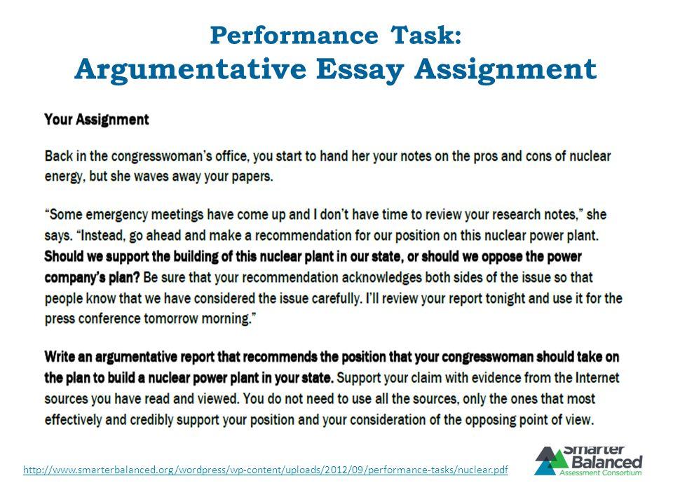 Performance Task: Argumentative Essay Assignment