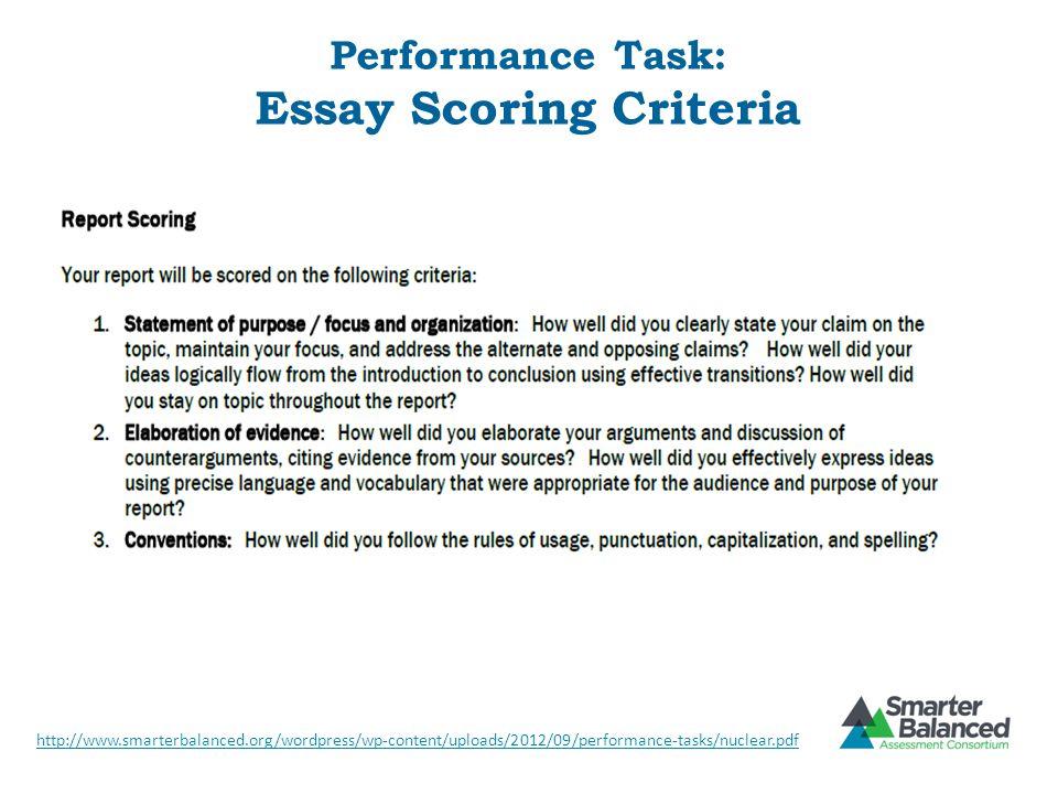 Performance Task: Essay Scoring Criteria