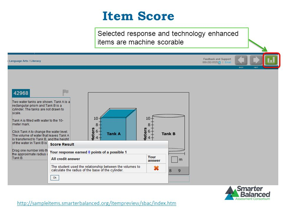 Item Score Selected response and technology enhanced items are machine scorable.