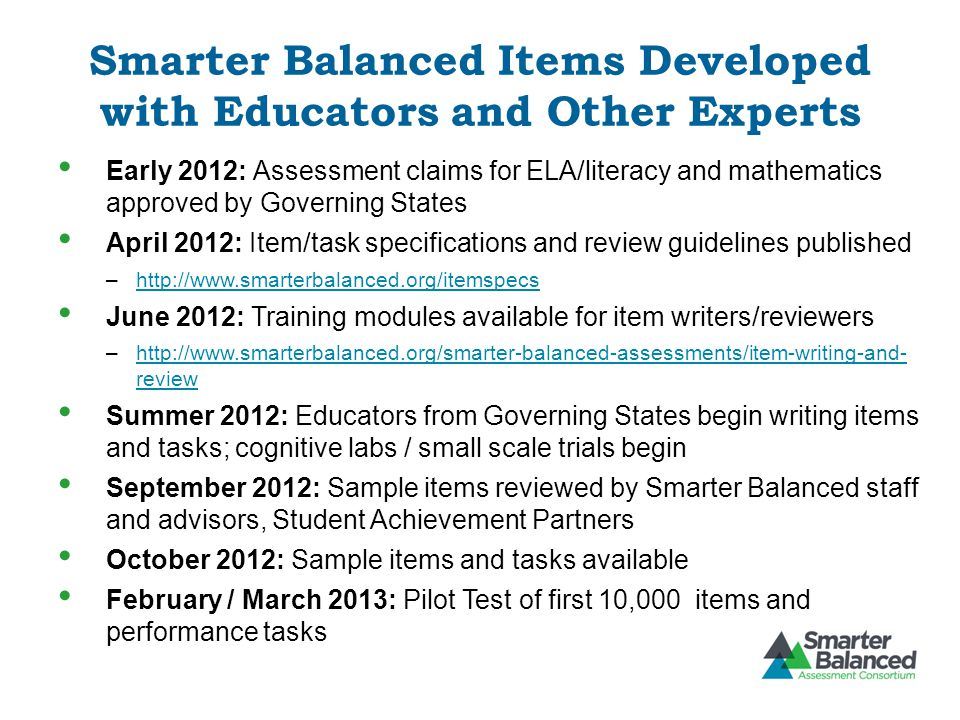 Smarter Balanced Items Developed with Educators and Other Experts