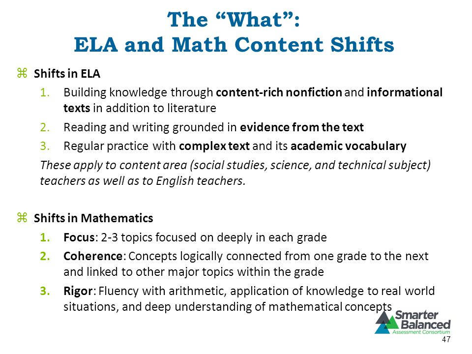 The What : ELA and Math Content Shifts