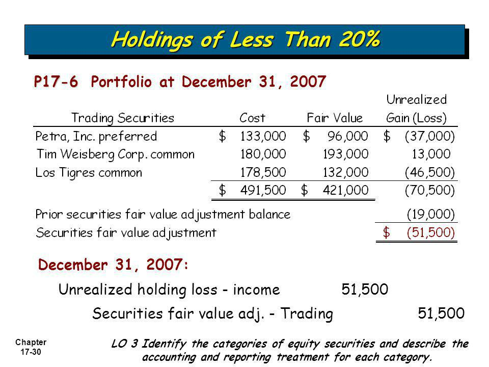 Holdings of Less Than 20% P17-6 Portfolio at December 31, 2007
