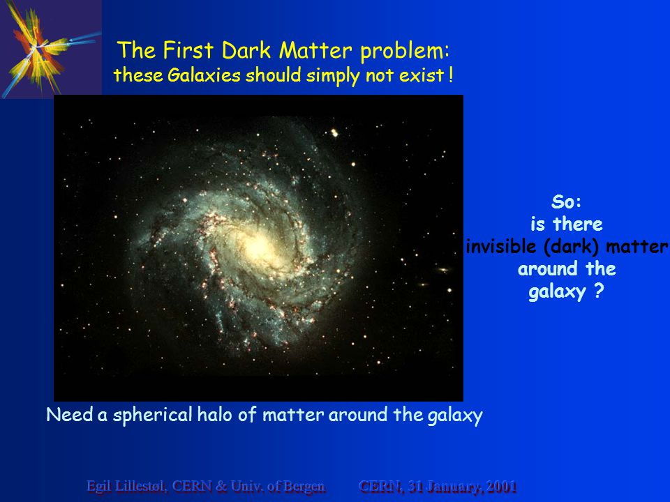 The First Dark Matter problem: