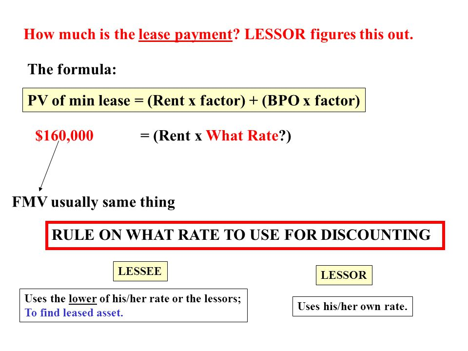 How much is the lease payment LESSOR figures this out.