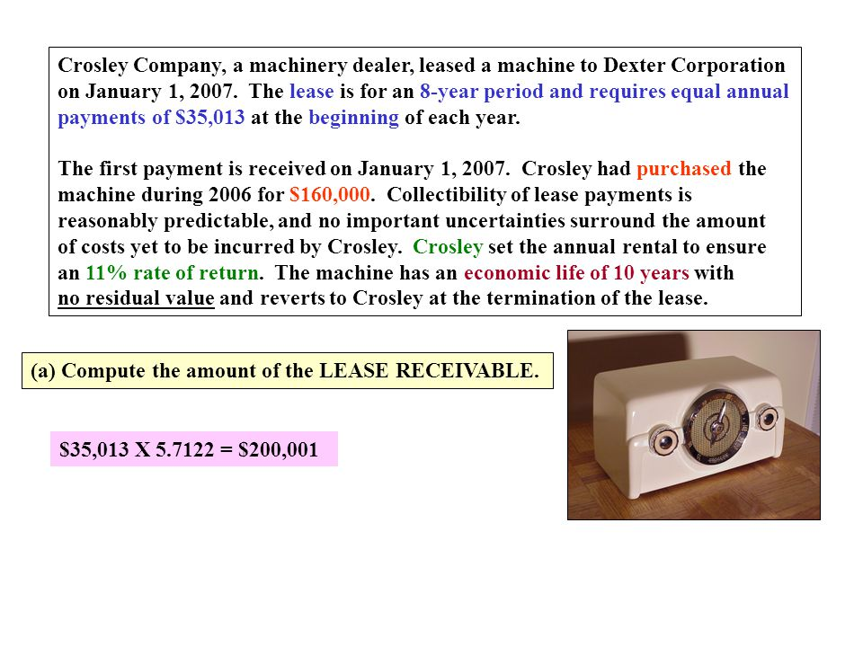 Crosley Company, a machinery dealer, leased a machine to Dexter Corporation