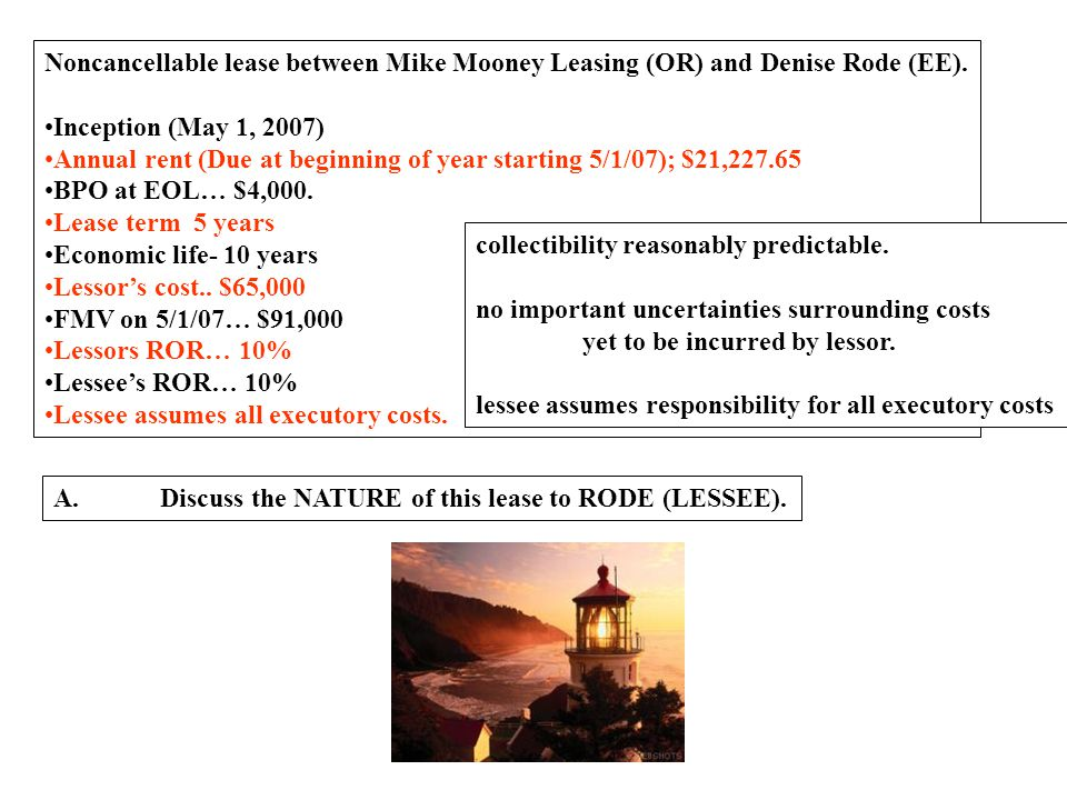 Noncancellable lease between Mike Mooney Leasing (OR) and Denise Rode (EE).