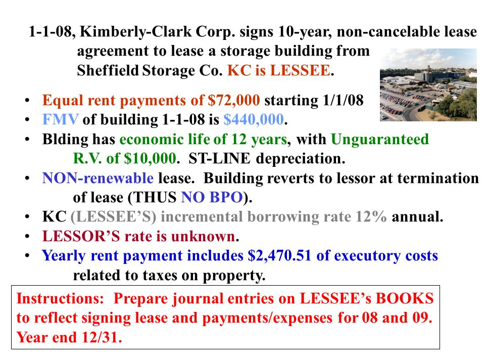 1-1-08, Kimberly-Clark Corp. signs 10-year, non-cancelable lease