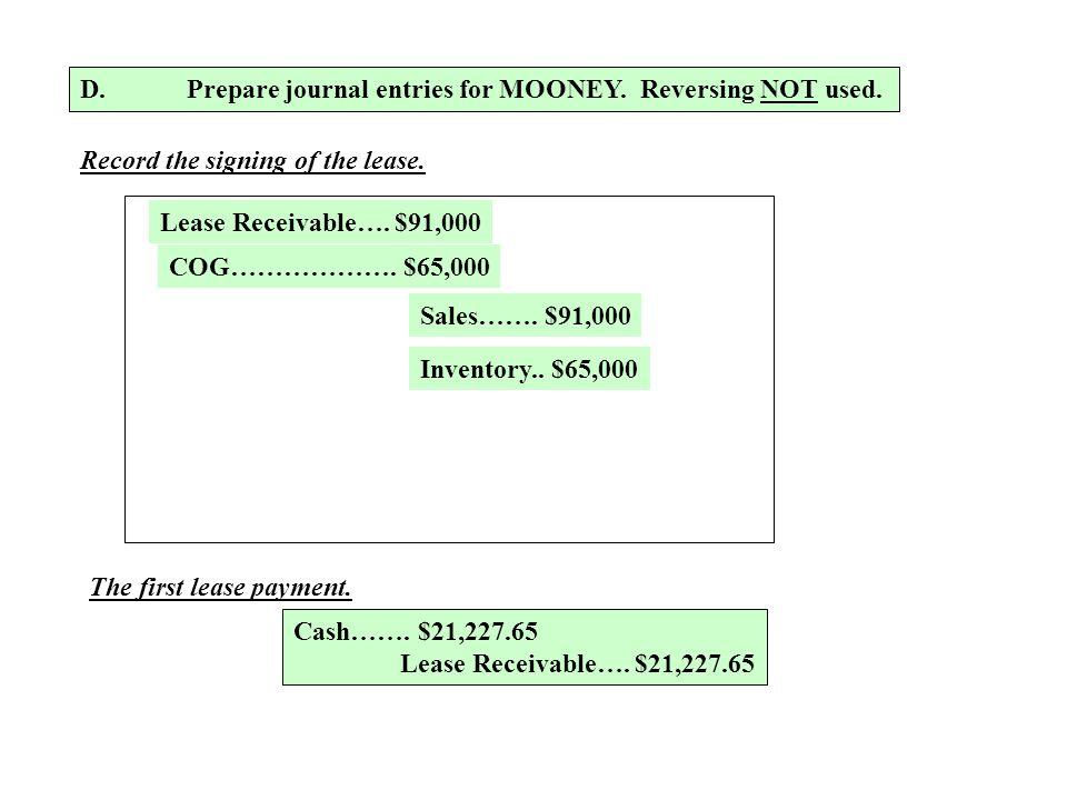 D. Prepare journal entries for MOONEY. Reversing NOT used.