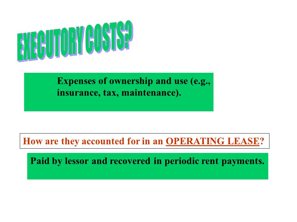 EXECUTORY COSTS Expenses of ownership and use (e.g.,