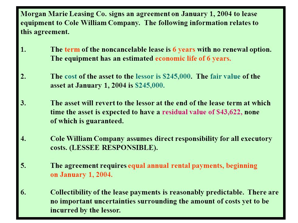 Morgan Marie Leasing Co. signs an agreement on January 1, 2004 to lease
