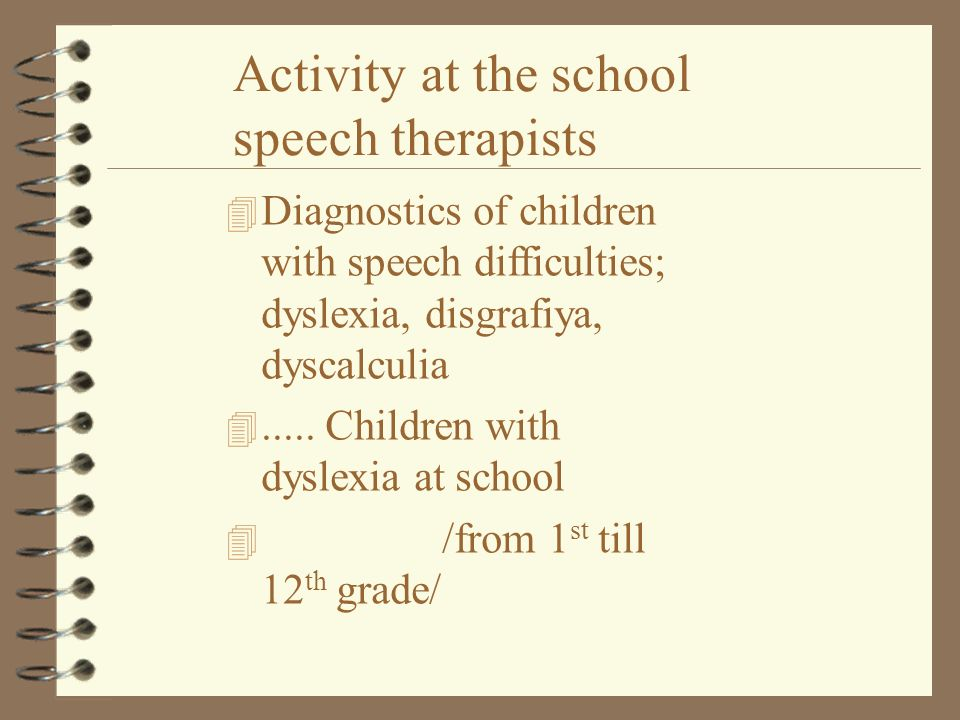 Activity at the school speech therapists