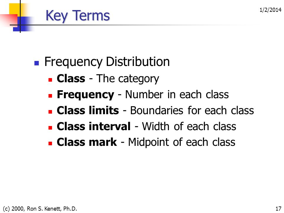 Key Terms Frequency Distribution Class - The category