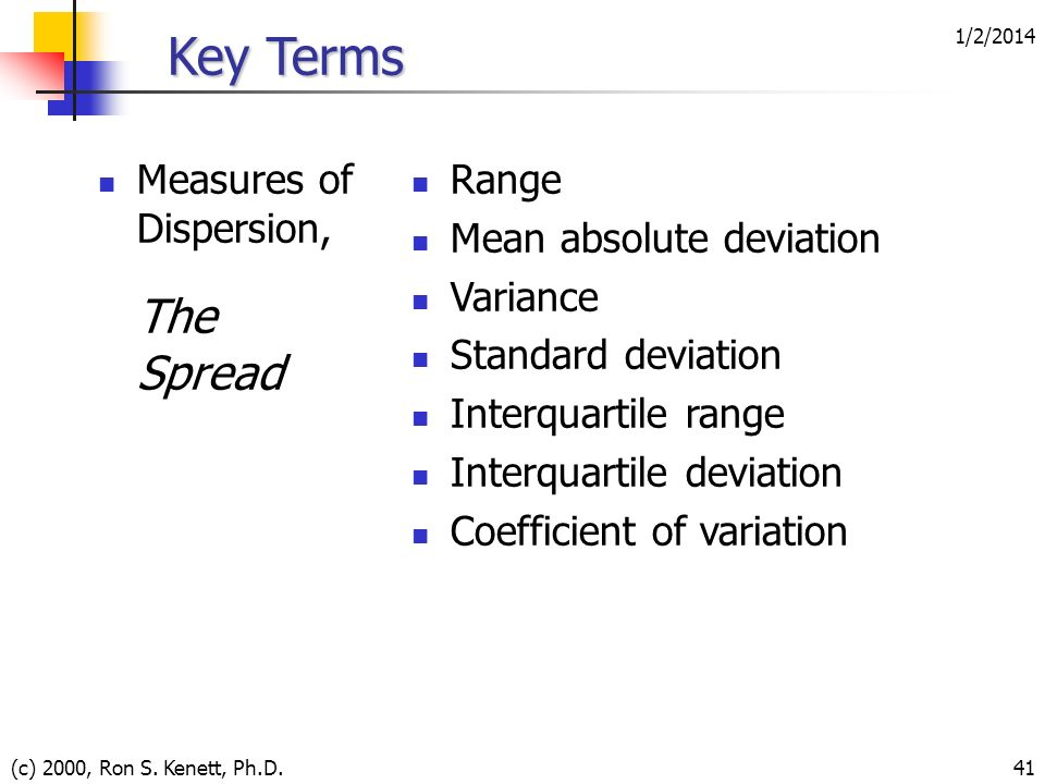 Key Terms The Spread Measures of Dispersion, Range