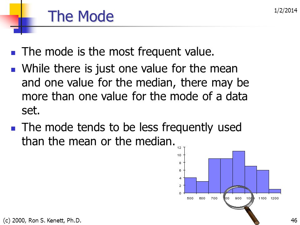 The Mode The mode is the most frequent value.