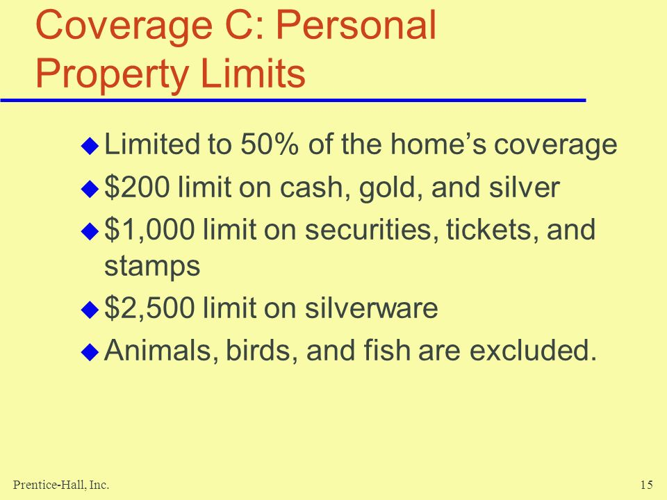 Coverage C: Personal Property Limits