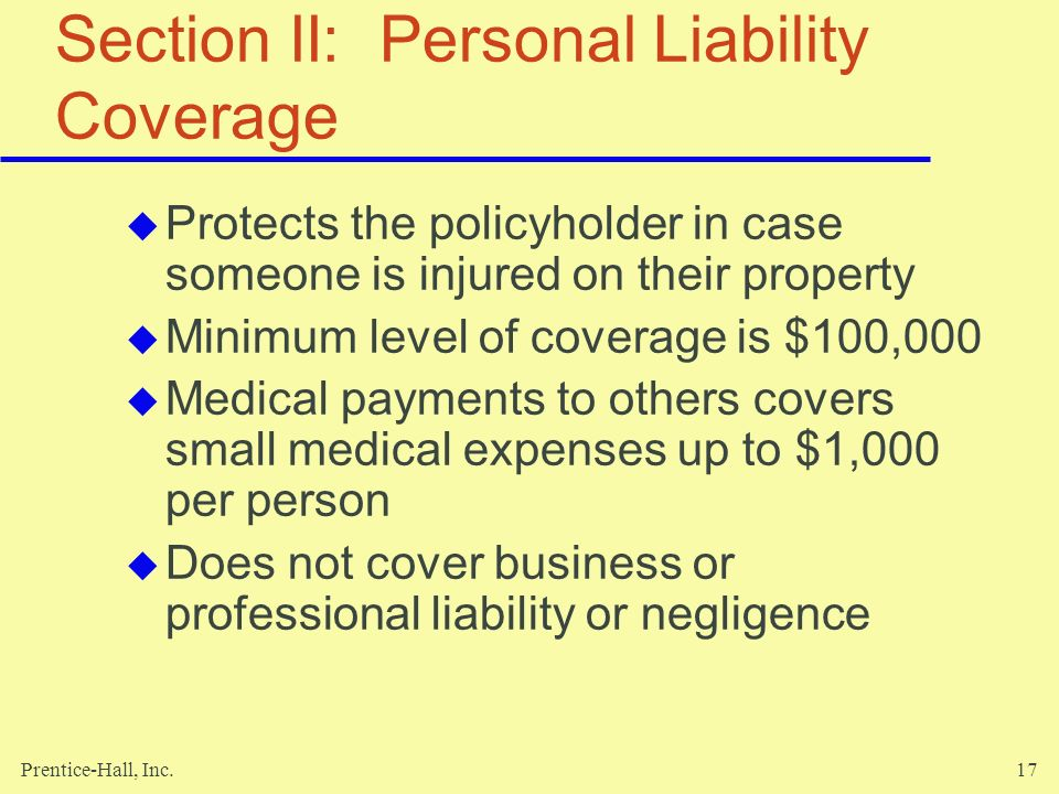 Section II: Personal Liability Coverage