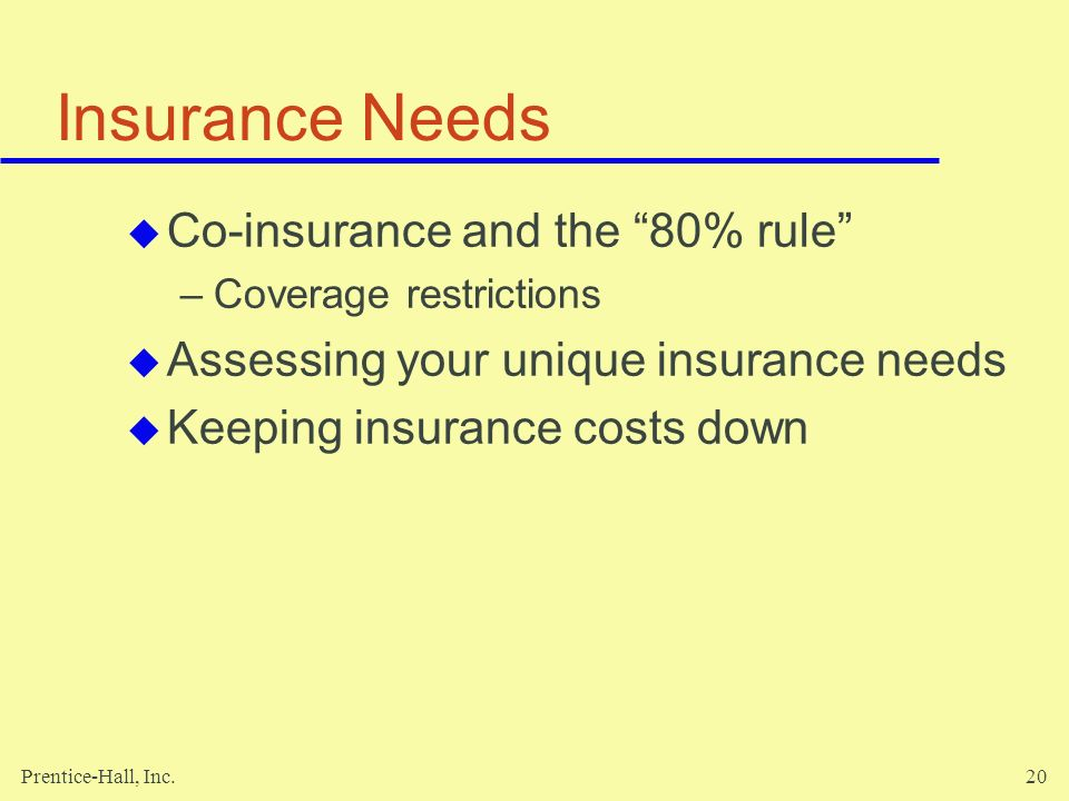 Insurance Needs Co-insurance and the 80% rule