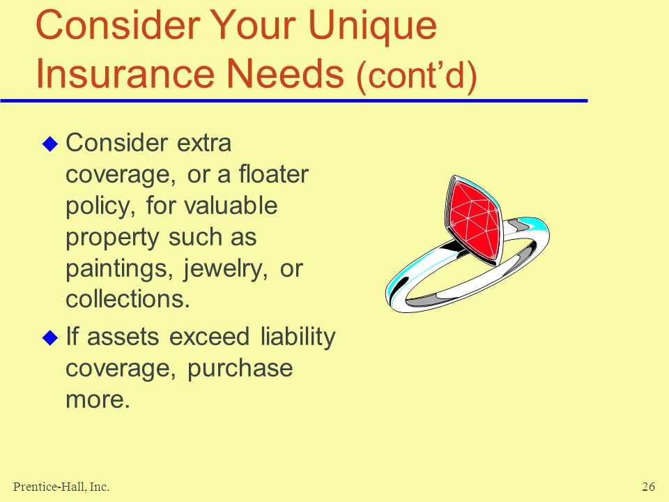 Consider Your Unique Insurance Needs (cont'd)