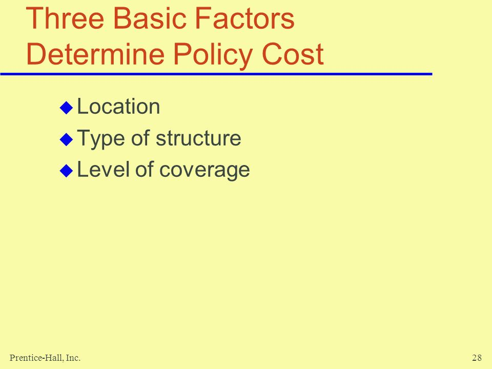 Three Basic Factors Determine Policy Cost