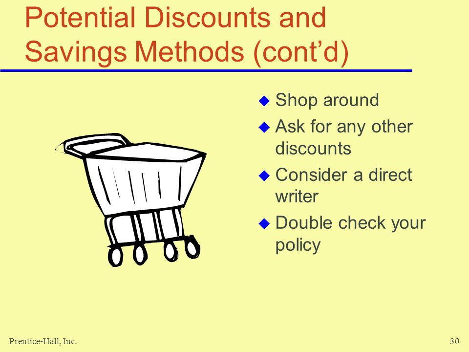 Potential Discounts and Savings Methods (cont'd)