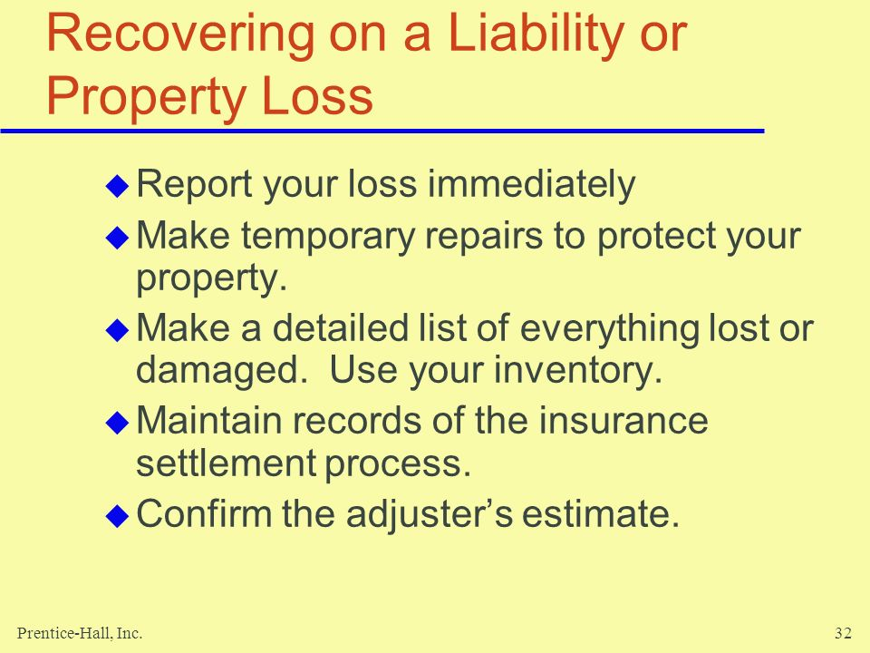 Recovering on a Liability or Property Loss