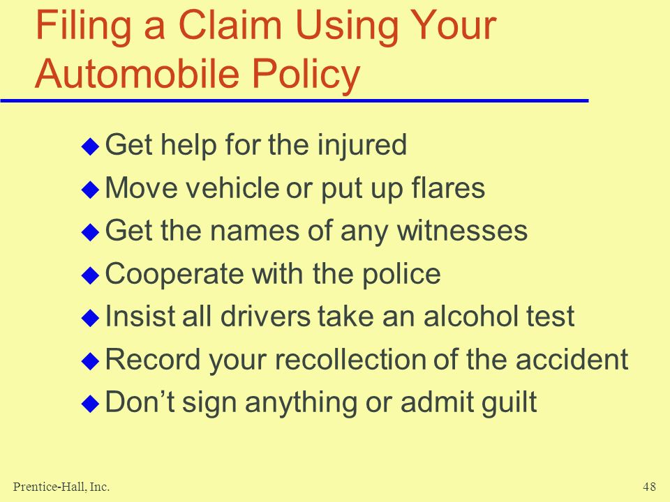Filing a Claim Using Your Automobile Policy