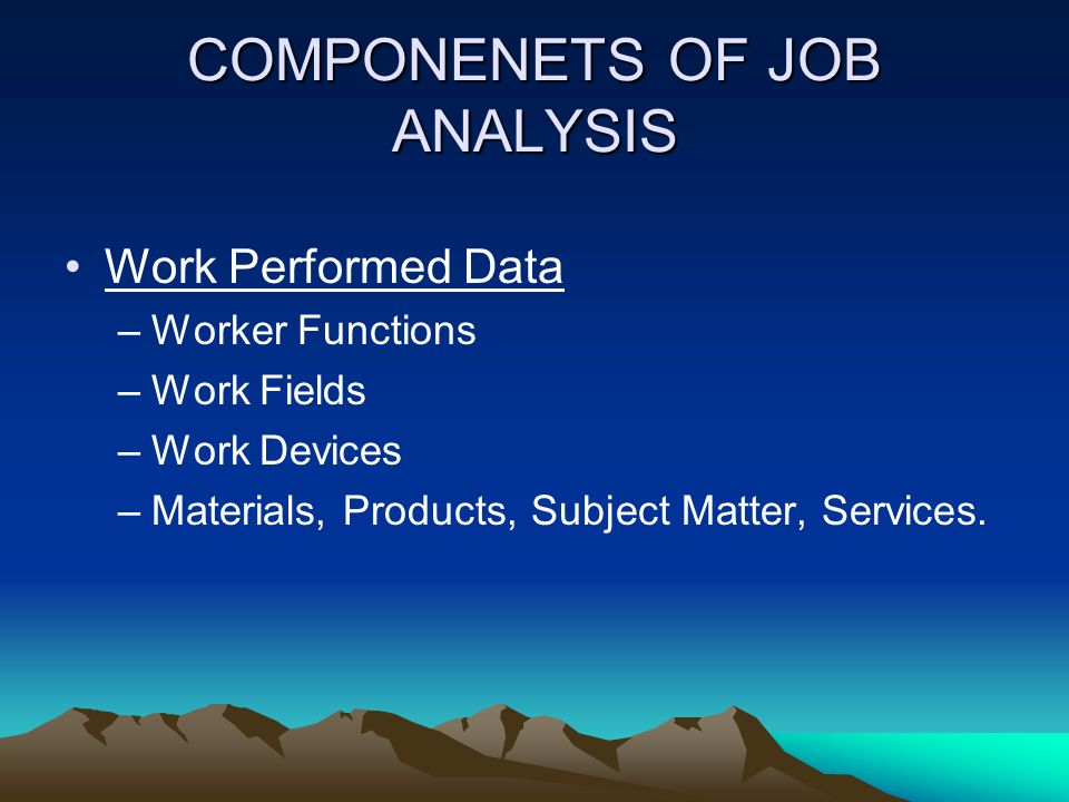 COMPONENETS OF JOB ANALYSIS