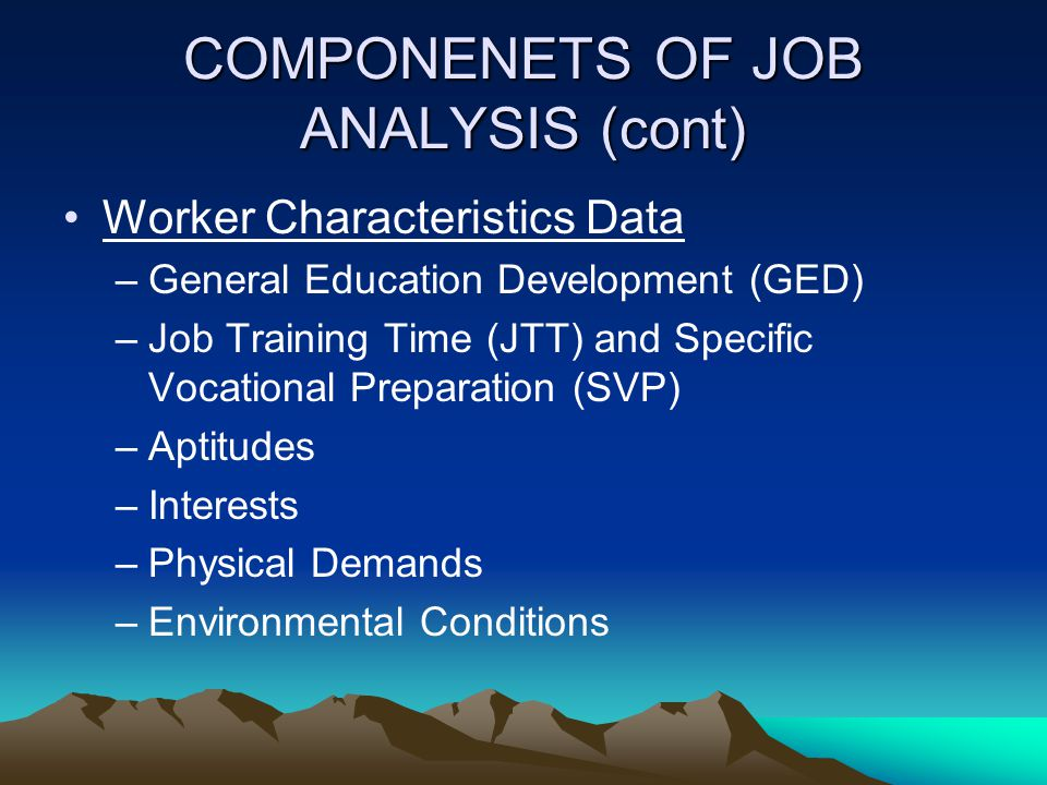 COMPONENETS OF JOB ANALYSIS (cont)