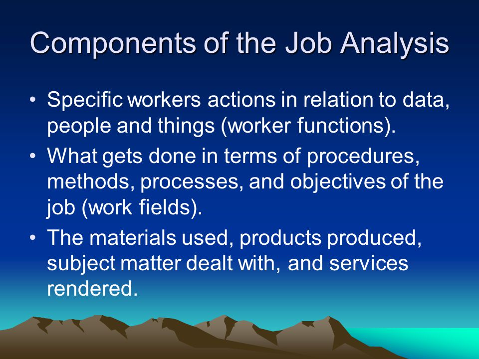 Components of the Job Analysis
