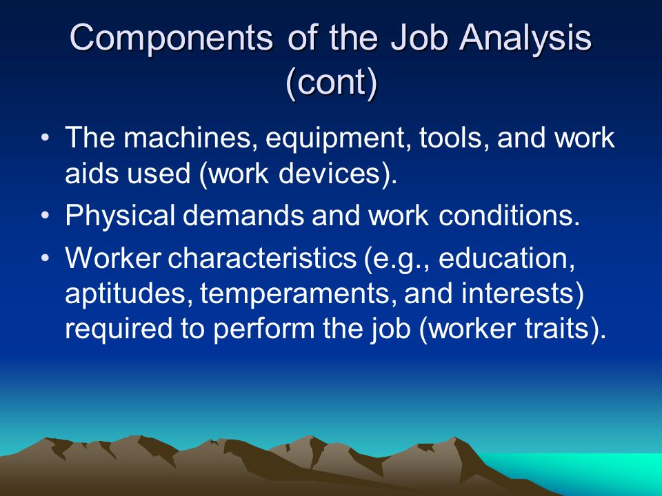 Components of the Job Analysis (cont)