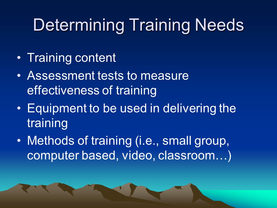 Determining Training Needs