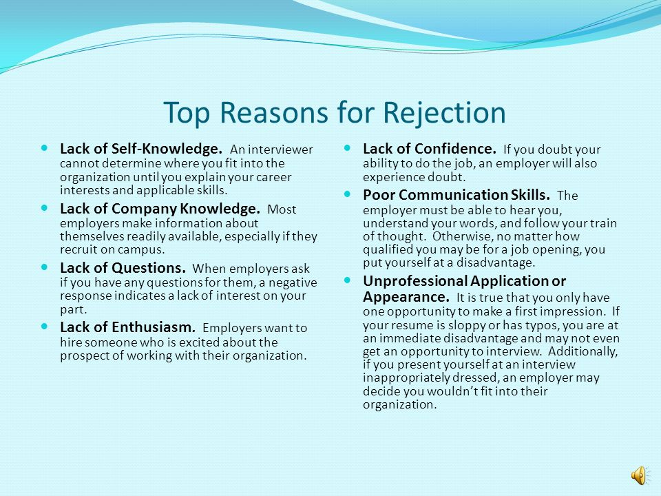 Top Reasons for Rejection