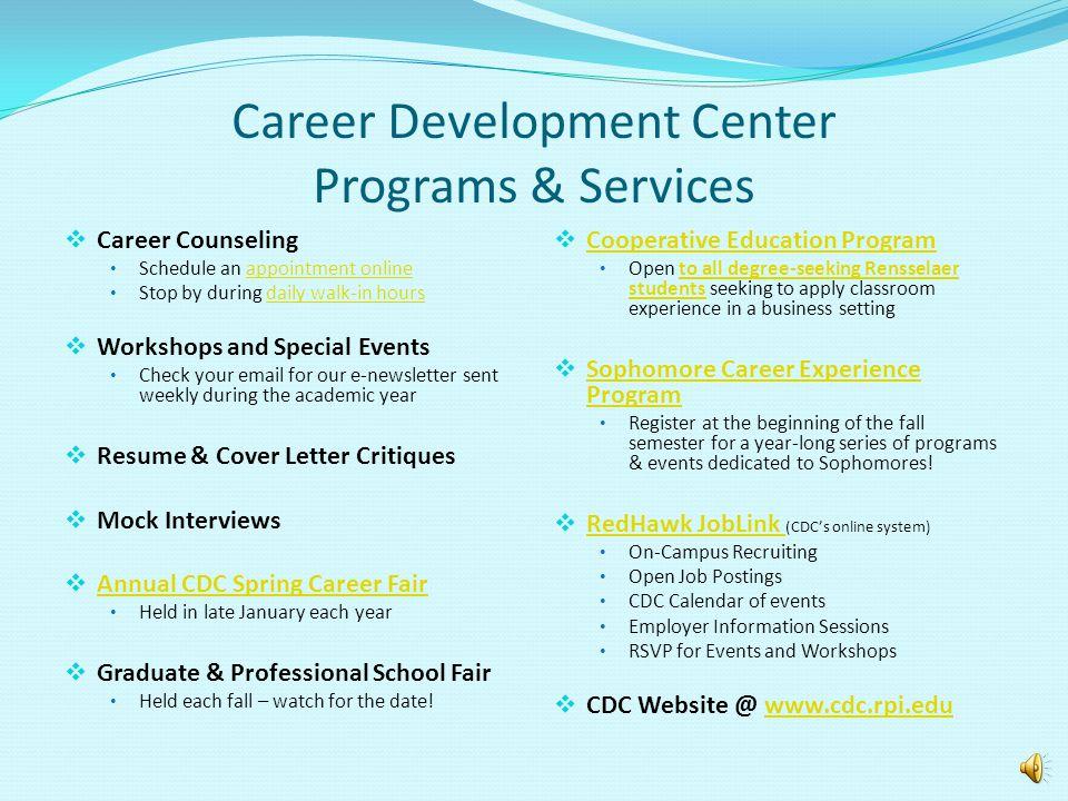 Career Development Center Programs & Services