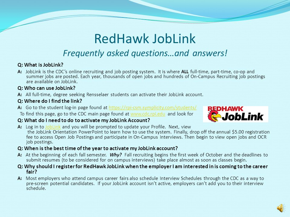 RedHawk JobLink Frequently asked questions…and answers!