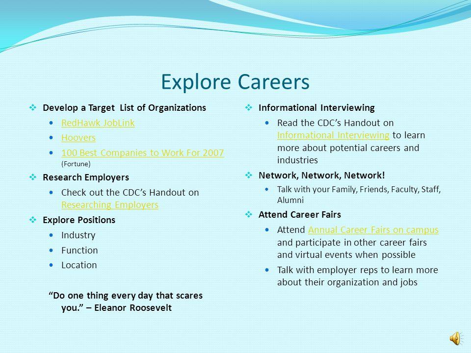Explore Careers Develop a Target List of Organizations RedHawk JobLink