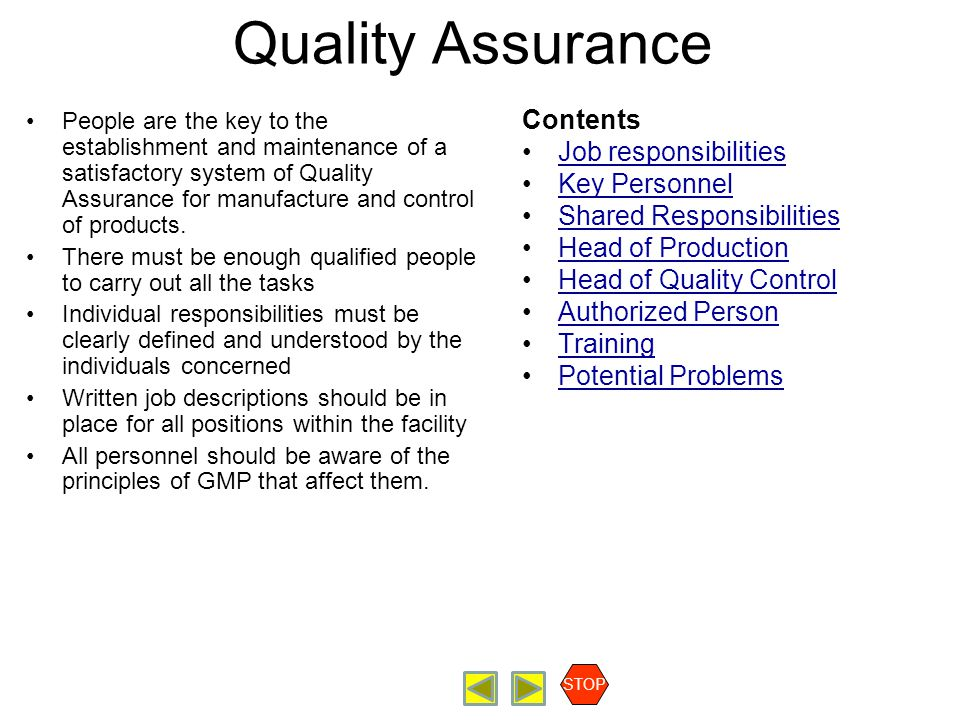 Quality Assurance Contents Job responsibilities Key Personnel